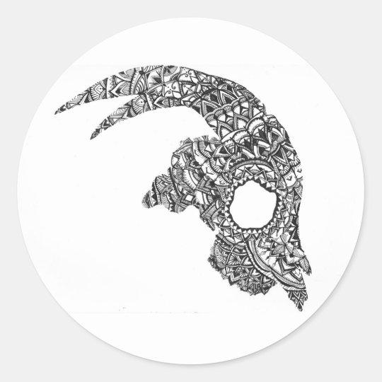 Goat Skull Classic Round Sticker