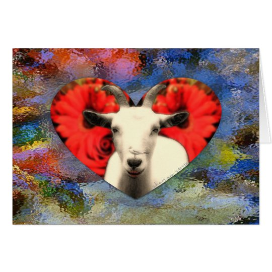 Goat With Heart Card