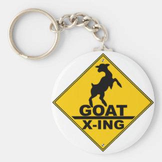 Goat X -ing / GOAT CROSSING WARNING SIGN Basic Round Button Key Ring