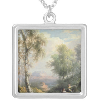 Goatherds in mountainous Spanish landscape Silver Plated Necklace