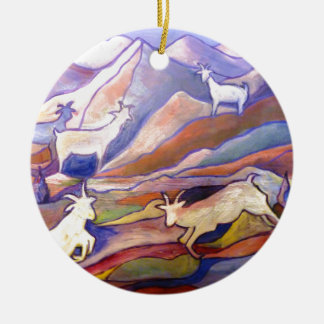 Goats and mountains christmas ornament