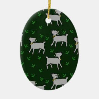 goats ceramic oval decoration