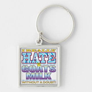Goats Milk Hate Face Silver-Colored Square Key Ring