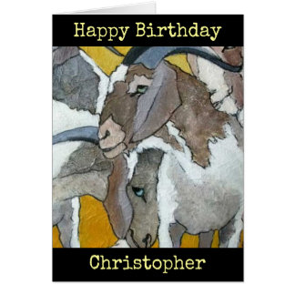 Goats Personalised Happy Birthday Art Card
