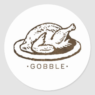 Gobble Funny Thanksgiving Turkey Classic Round Sticker