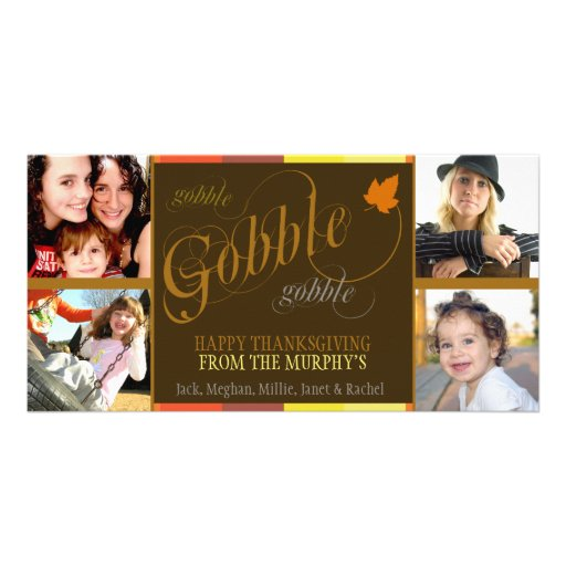 Gobble Gobble Multicolored Thanksgiving Photo Card