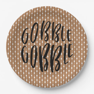 Gobble Gobble Tan and Black - Paper plate