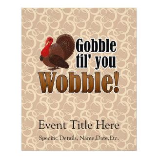 Gobble til you Wobble Funny Thanksgiving Dinner Flyer Design