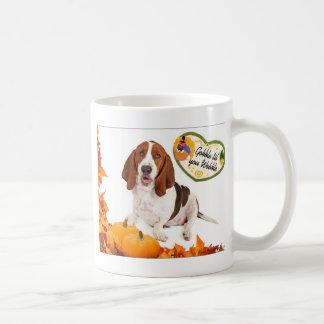 Gobble til you Wobble Thanksgiving Basset Classic White Coffee Mug