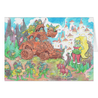Goblens driving a machine, on a card. greeting card