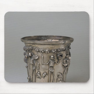 Goblet embossed with skeletons holding masks mouse mat