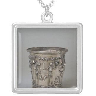 Goblet embossed with skeletons holding masks silver plated necklace