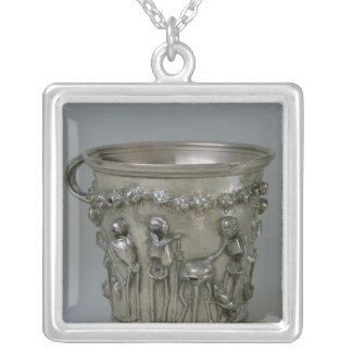 Goblet embossed with skeletons silver plated necklace