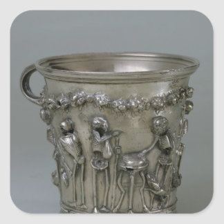 Goblet embossed with skeletons square sticker