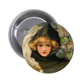 Goblins Peeking Vintage Halloween Art Button