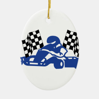 GoCart Racing Flags Ceramic Oval Decoration