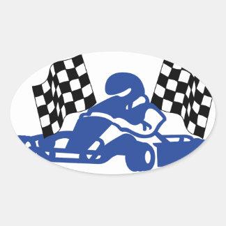 GoCart Racing Flags Oval Sticker