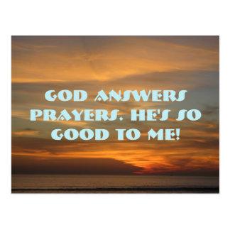 God answers prayers postcard