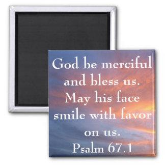 God be merciful bible verse sunrise square magnet