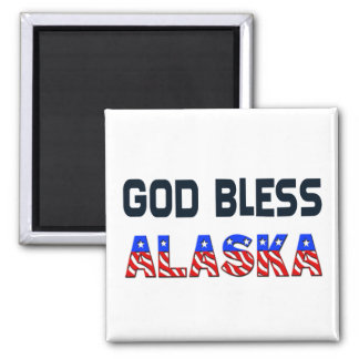 God Bless Alaska Square Magnet