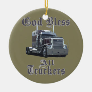 God Bless All Truckers Christmas Ornament