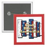 God Bless America 15 Cm Square Badge