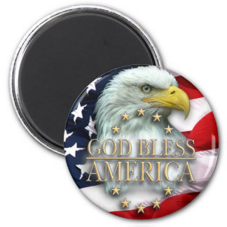 God Bless America 6 Cm Round Magnet