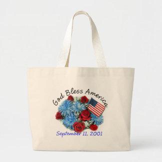 God Bless America 9 11 Memorial Canvas Bags