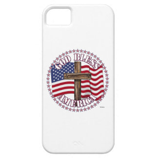 God Bless America and Cross With USA Flag 50 Stars iPhone 5 Cover