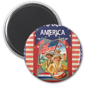 God Bless America, children and drums 6 Cm Round Magnet