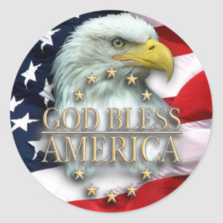 God Bless America Classic Round Sticker