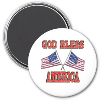 God Bless America Crossed Flags Magnet