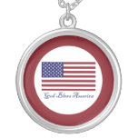 God Bless America Flag Round Pendant Necklace