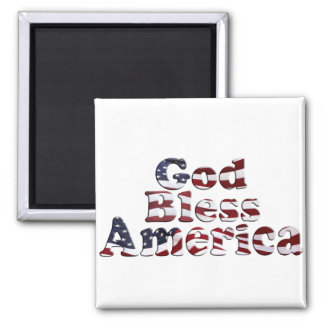 God Bless America Flag Text Design Magnet