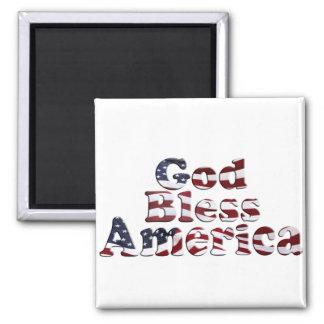God Bless America Flag Text Design Square Magnet