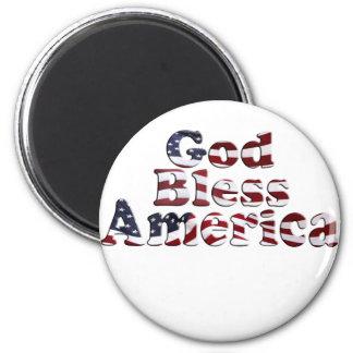 God Bless America Flag Text Design Magnet
