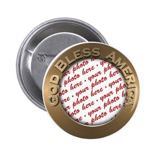 God Bless America Gold Photo Frame 6 Cm Round Badge