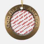 God Bless America Gold Photo Frame Christmas Ornaments