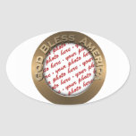 God Bless America Gold Photo Frame Oval Stickers
