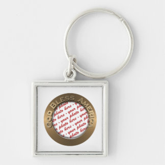 God Bless America Gold Photo Frame Silver-Colored Square Key Ring