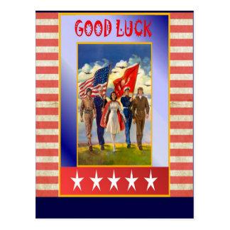 God Bless America - Good Luck Postcard