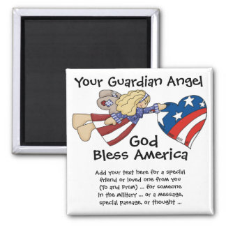 God Bless America Guardian Angel Square Magnet