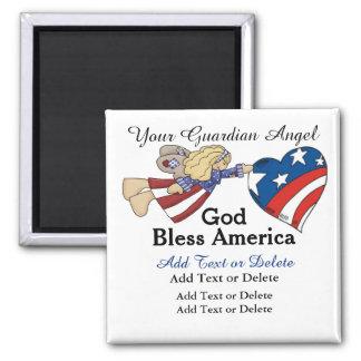 God Bless America Guardian Angel - SRF Magnets