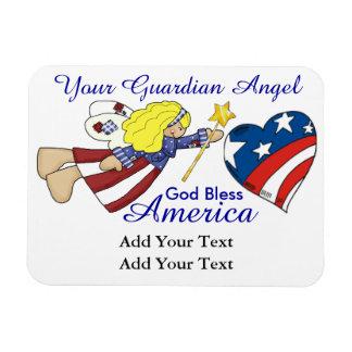 God Bless America - Guardian Angel - SRF Rectangle Magnet