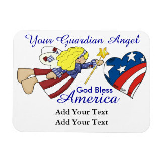 God Bless America - Guardian Angel - SRF Rectangular Photo Magnet