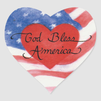 God Bless America Heart Stickers