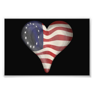God Bless America In A Heart Photograph