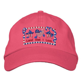 God Bless America Land That I Love Embroidered Hat