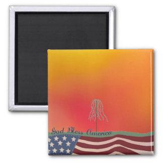 God Bless America Square Magnet