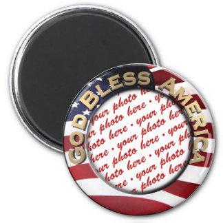 God Bless America Patriotic Photo Frame 6 Cm Round Magnet